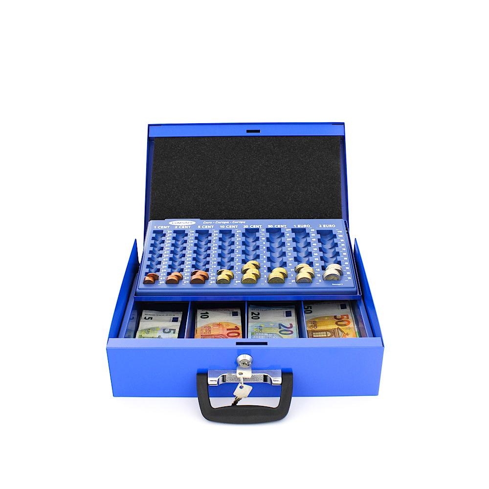 Rottner pénztároló kazetta Brüssel euró érmetálcával kulcsos zárral kék
