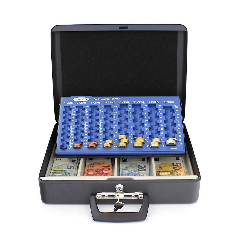 Rottner pénztároló kazetta London euró érmetálcával kulcsos zárral antracit